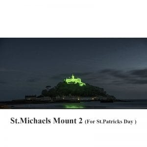 St Michael's Mount Cornwall lit for St Patrick's Day Sunday